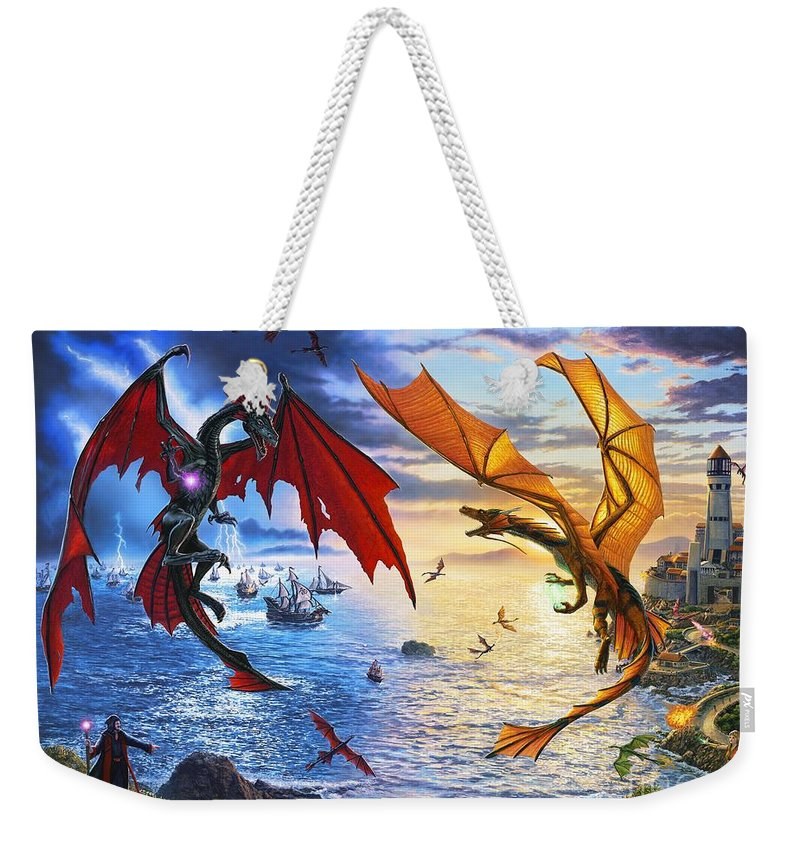 Dragon Weekender Tote Bag featuring the painting Duel of the Dragon Wizards by Stu Shepherd