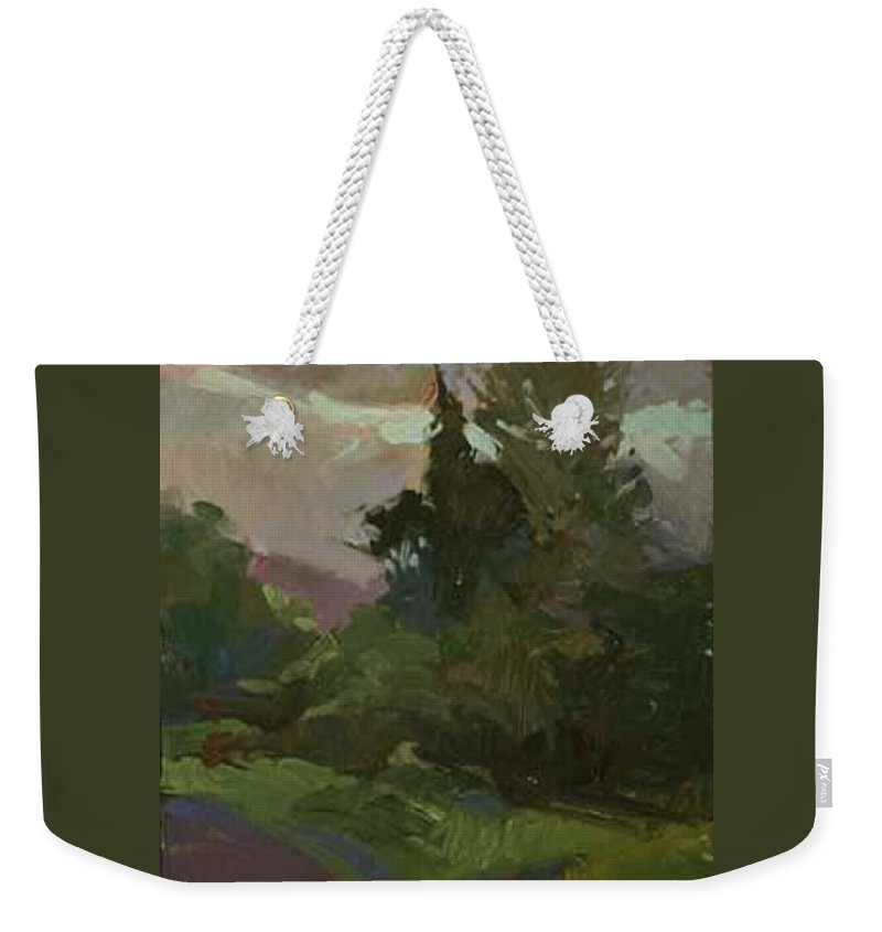 Impressionism Weekender Tote Bag featuring the painting Dusk Woodland Plein Air by Betty Jean Billups