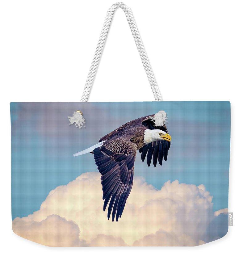 Eagle Flying Above Clouds Weekender Tote Bag