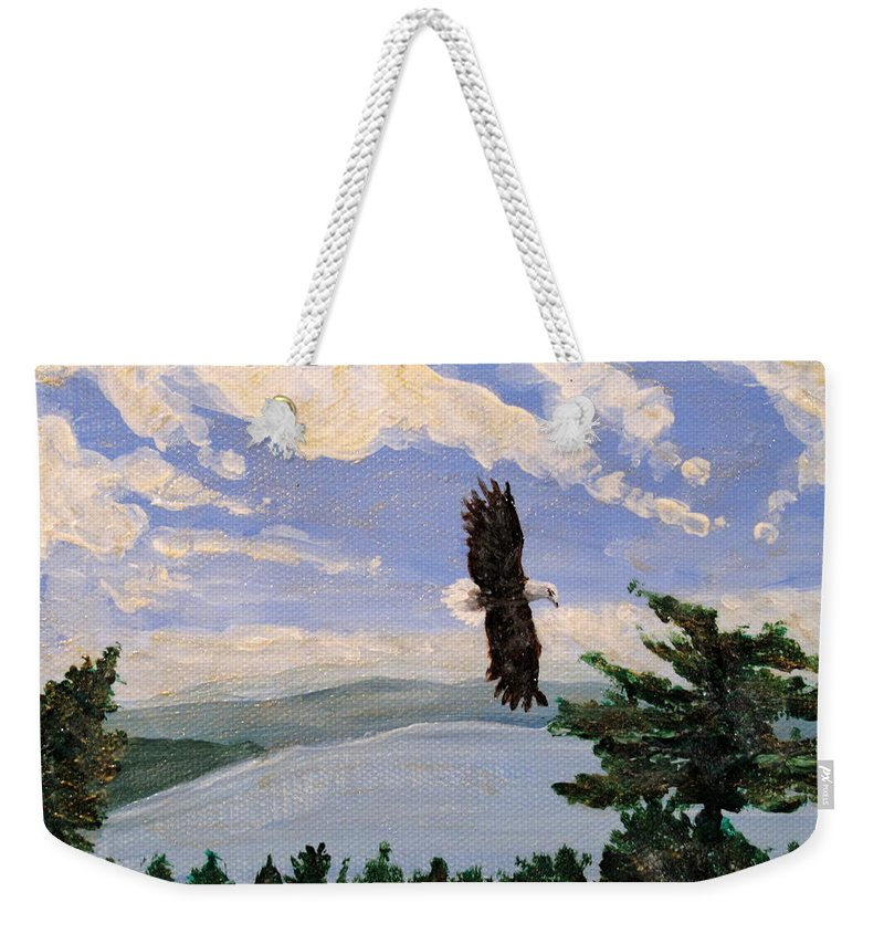 Bald Headed Eagle Weekender Tote Bag featuring the painting Eagles Fly Over Lake Huron by Ian MacDonald