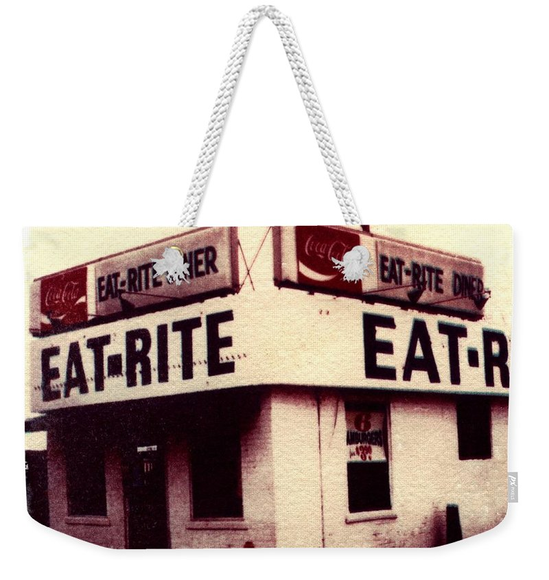 Polaroid Transfer Weekender Tote Bag featuring the photograph Eat Rite by Jane Linders