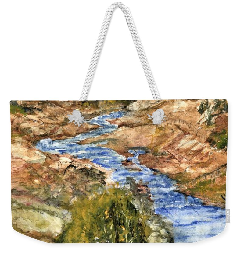 California Weekender Tote Bag featuring the painting Eaton Canyon High Desert Creek by Randy Sprout