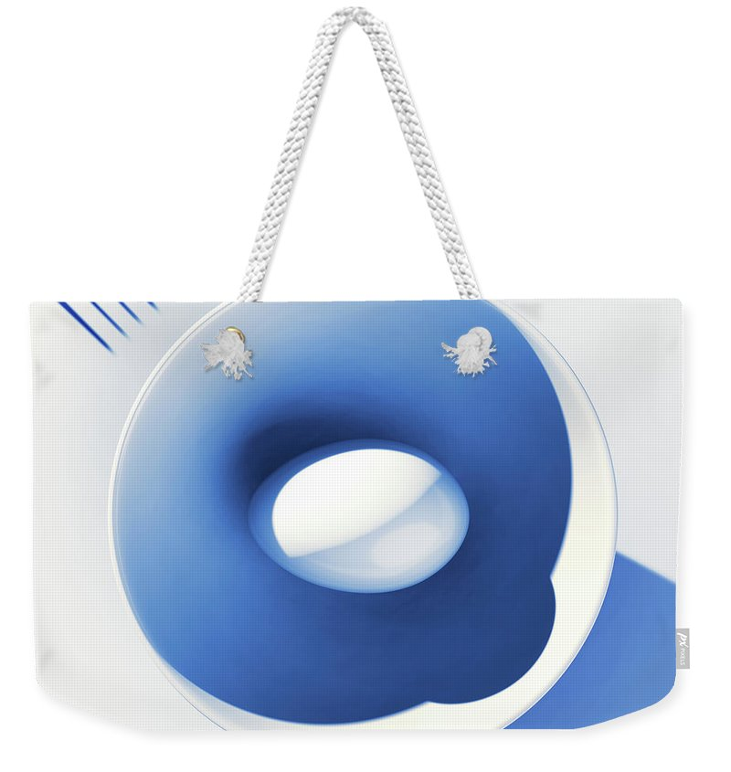 Egg Weekender Tote Bag featuring the digital art Egg and Bowl_electric blue after Cesare Onestini by Heike Remy