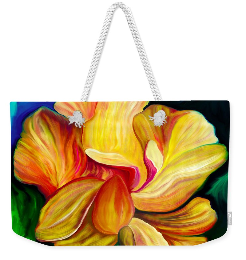 Hibiscus Painting Weekender Tote Bag featuring the painting Emergence II by Patricia Griffin Brett