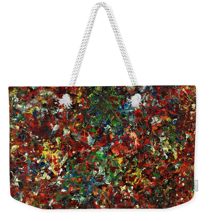 Abstract Weekender Tote Bag featuring the painting Enamel 1 by James W Johnson