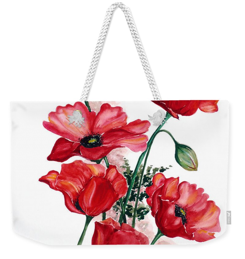 Original Watercolor Of English Field Poppies Painted On Arches Watercolor Paper Weekender Tote Bag featuring the painting English Field Poppies. by Karin Dawn Kelshall- Best