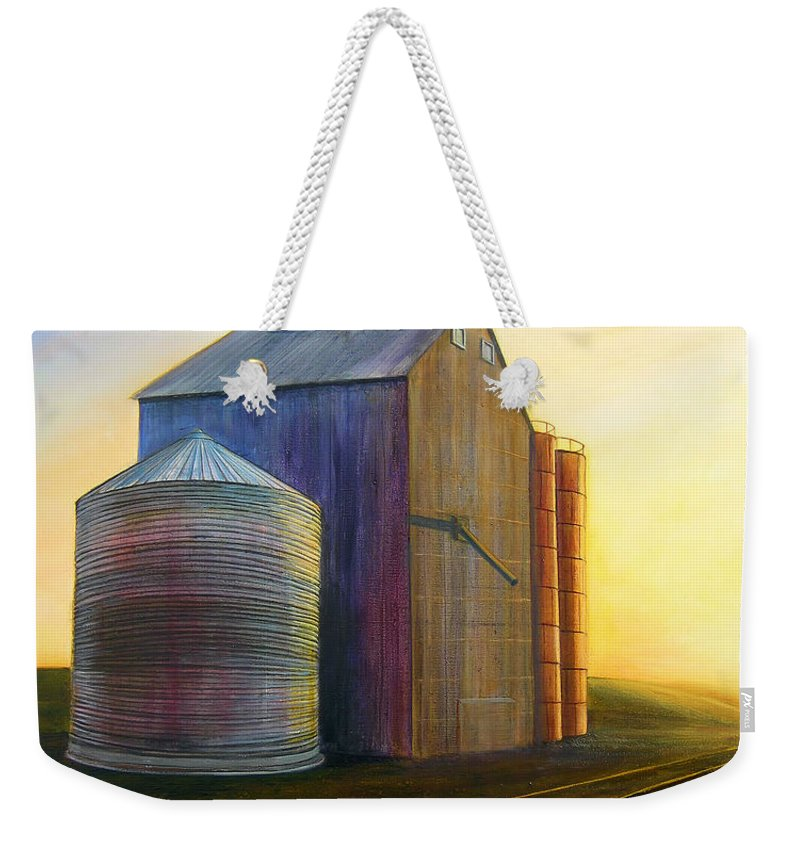 Silos Weekender Tote Bag featuring the painting Estes Road Twilight by Leonard Heid