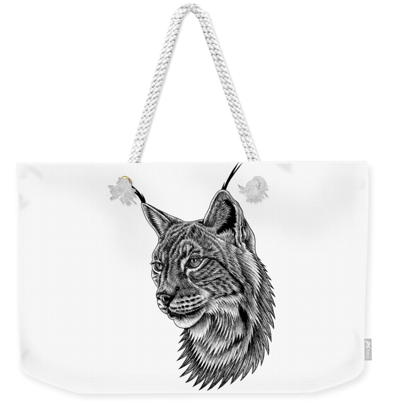 Lynx Weekender Tote Bag featuring the drawing Eurasian lynx portrait by Loren Dowding