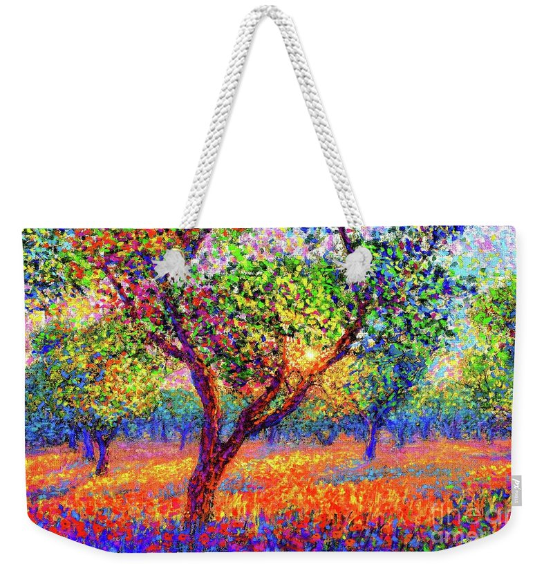 Floral Weekender Tote Bag featuring the painting Evening Poppies by Jane Small