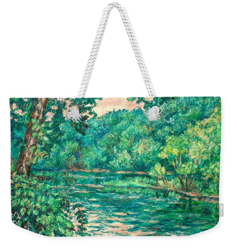 Landscape Weekender Tote Bag featuring the painting Evening River Motion by Kendall Kessler