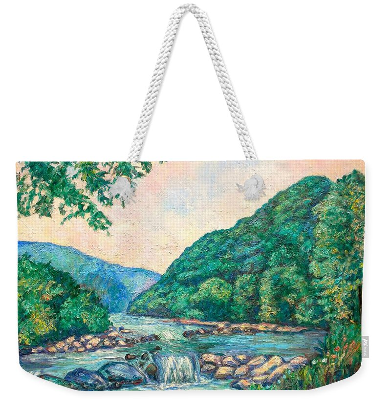 Landscape Weekender Tote Bag featuring the painting Evening River Scene by Kendall Kessler