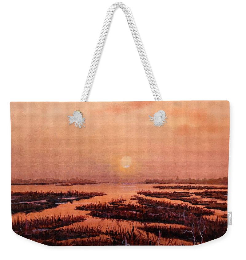 Marsh Weekender Tote Bag featuring the painting Evening Time by Sinisa Saratlic