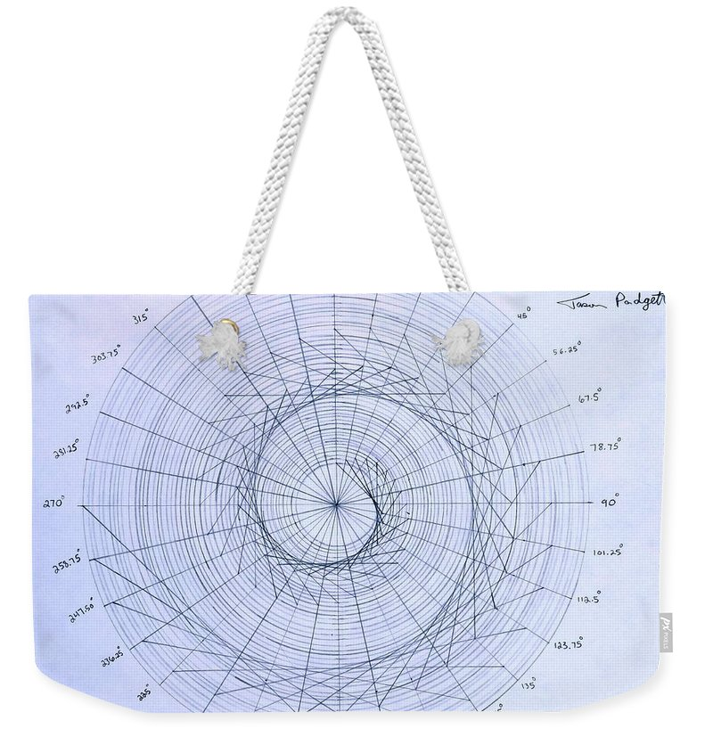 Spiral Weekender Tote Bag featuring the drawing Expanding triangle by Jason Padgett