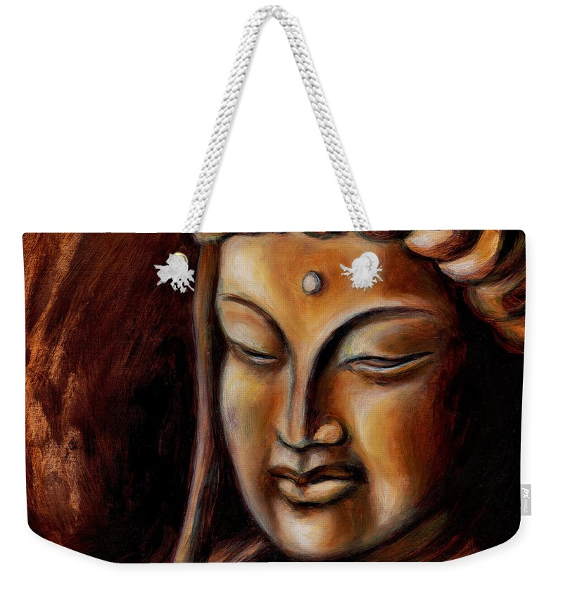 Zen Weekender Tote Bag featuring the painting Face of Mercy No.2 by Hiroko Sakai