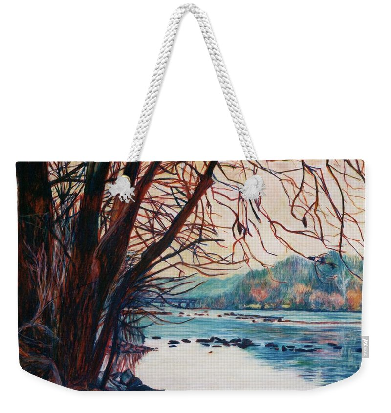 New River Weekender Tote Bag featuring the pastel Fall on the New River by Kendall Kessler