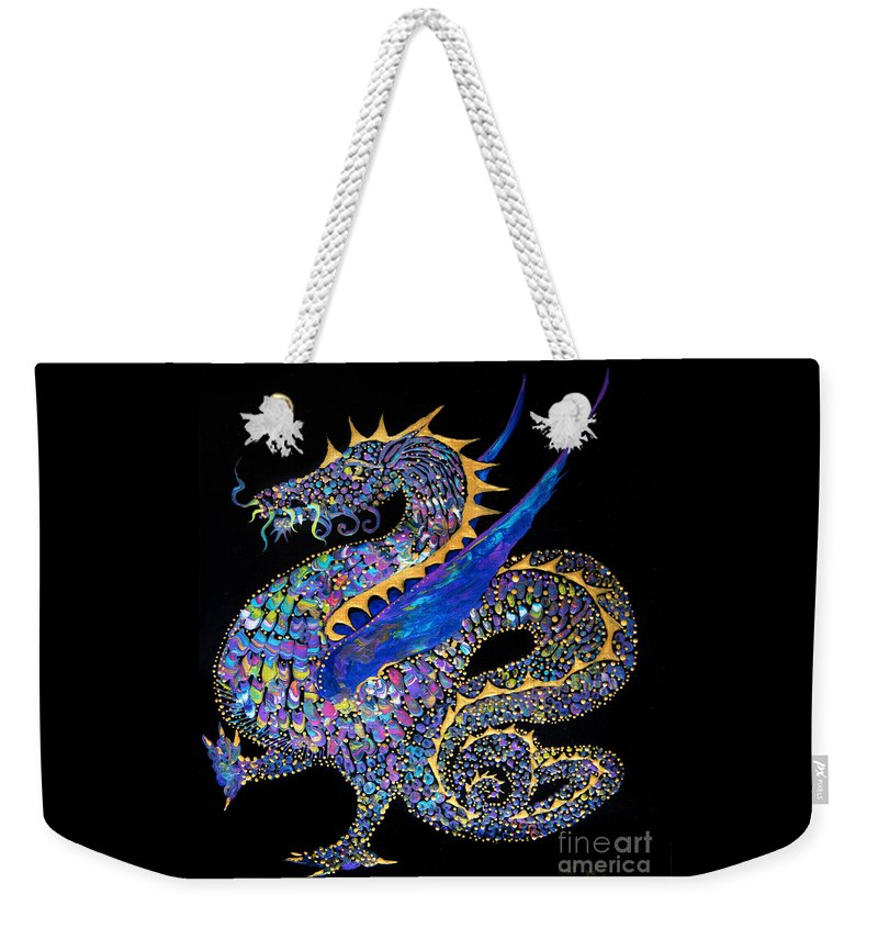 Dragon Fantasy-creature Dragon-illustration Winged-dragon Weekender Tote Bag featuring the painting Fancy Dragon 7333 by Priscilla Batzell Expressionist Art Studio Gallery