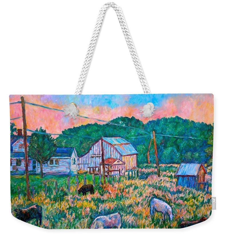 Landscape Weekender Tote Bag featuring the painting Farm Near Fancy Gap by Kendall Kessler