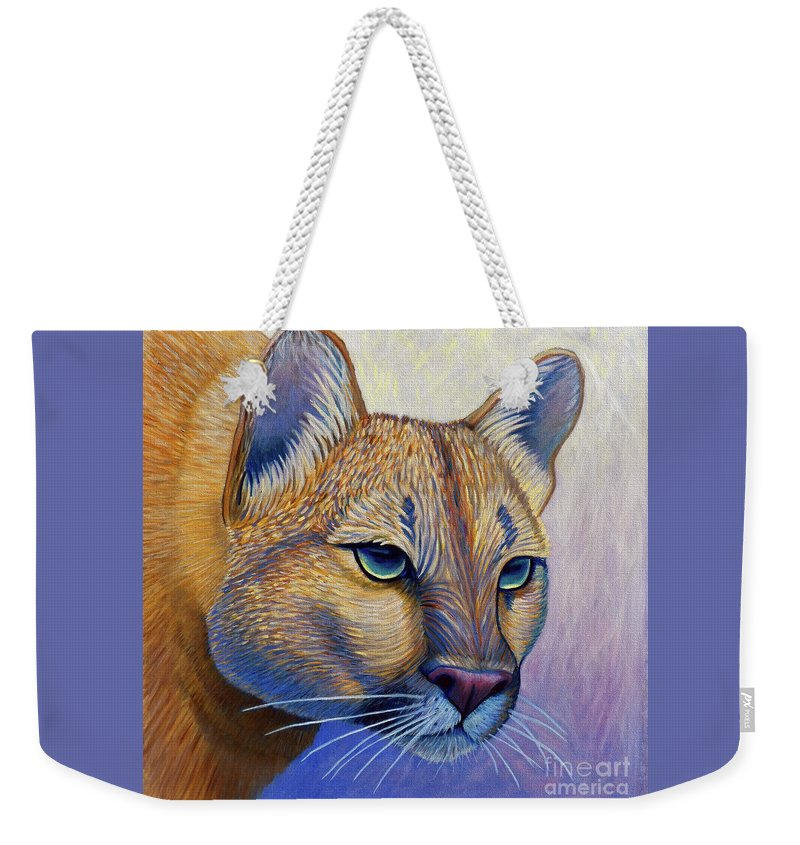 Mountain Lion Weekender Tote Bag featuring the painting Fearless by Brian Commerford