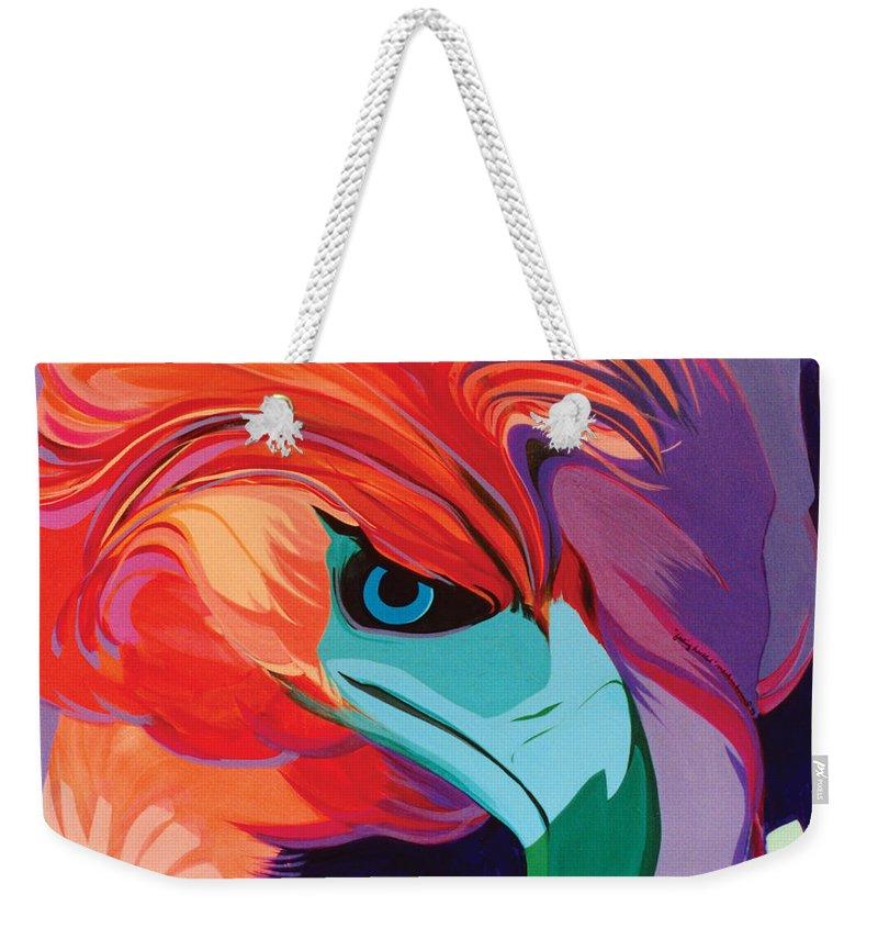 Bird Weekender Tote Bag featuring the painting Feeling Hackled by Marlene Burns