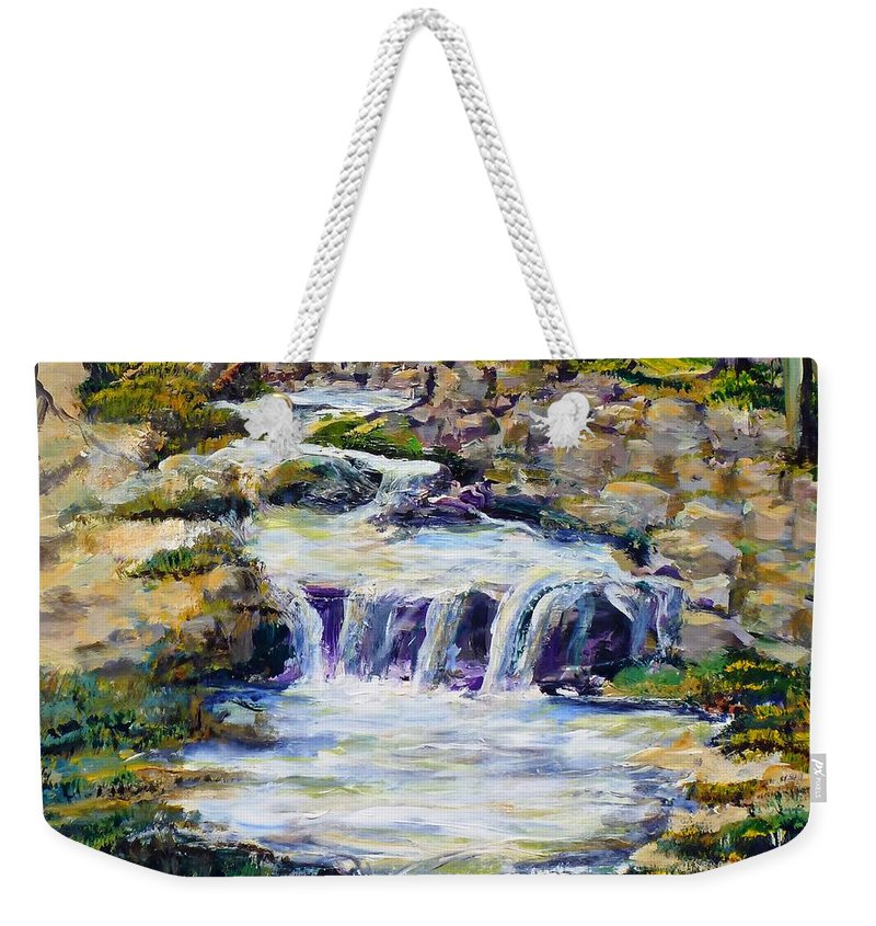 Los Angeles Weekender Tote Bag featuring the painting Fern Dell Creek Noon by Randy Sprout