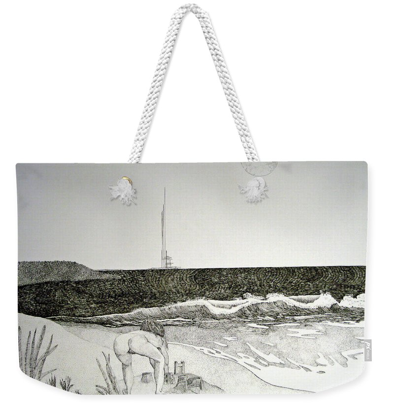 Landscape Weekender Tote Bag featuring the painting First the Sand... by A Robert Malcom