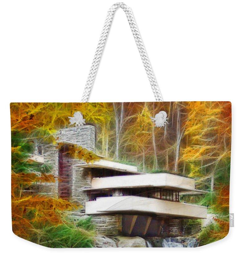 Affordable Art Weekender Tote Bag featuring the digital art Fixer Upper - Frank Lloyd Wright's Fallingwater by John Robert Beck