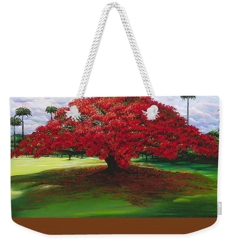 Flamboyant Tree Weekender Tote Bag featuring the painting Flamboyant Ablaze by Karin Dawn Kelshall- Best