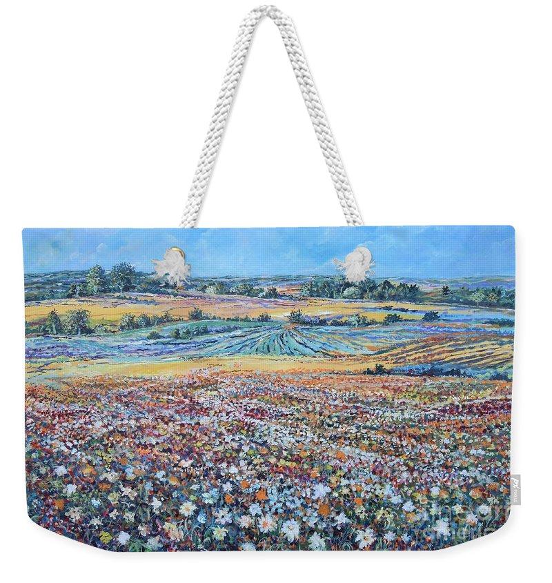 Flower Weekender Tote Bag featuring the painting Flower Field by Sinisa Saratlic