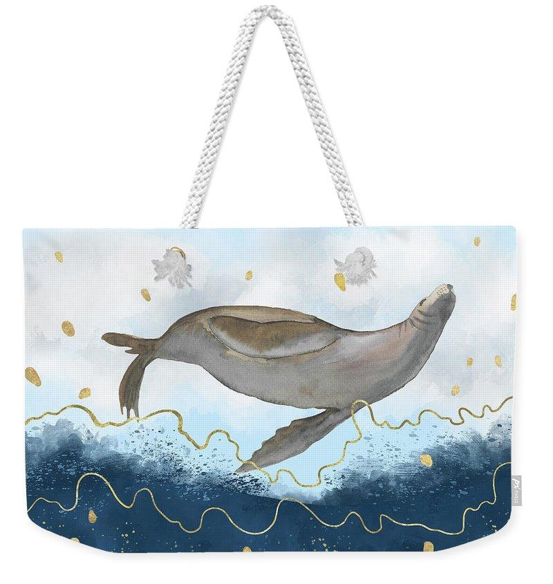 Watercolor Weekender Tote Bag featuring the digital art Flying Seal - Rising Waters Surreal Climate Change by Andreea Dumez