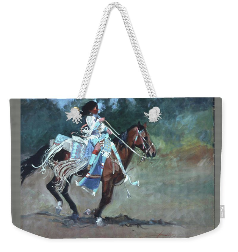 Native American Weekender Tote Bag featuring the painting Foot Loose by Betty Jean Billups