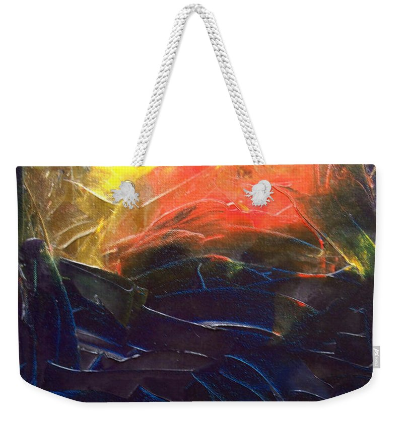 Duck Weekender Tote Bag featuring the painting Forest .Part1 by Sergey Bezhinets