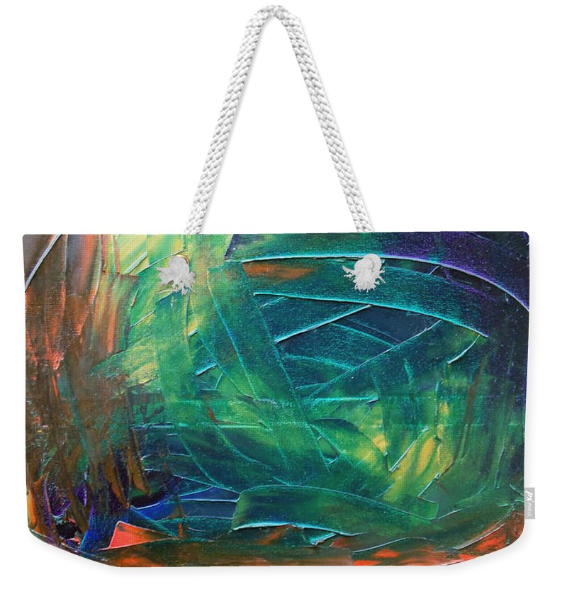 Painting Weekender Tote Bag featuring the painting Forest.Part3 by Sergey Bezhinets