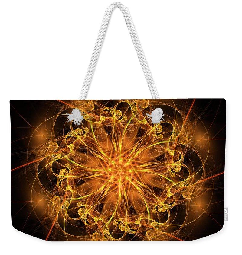 Fractal Star Weekender Tote Bag featuring the digital art Fractal Fire Star by Ann Garrett