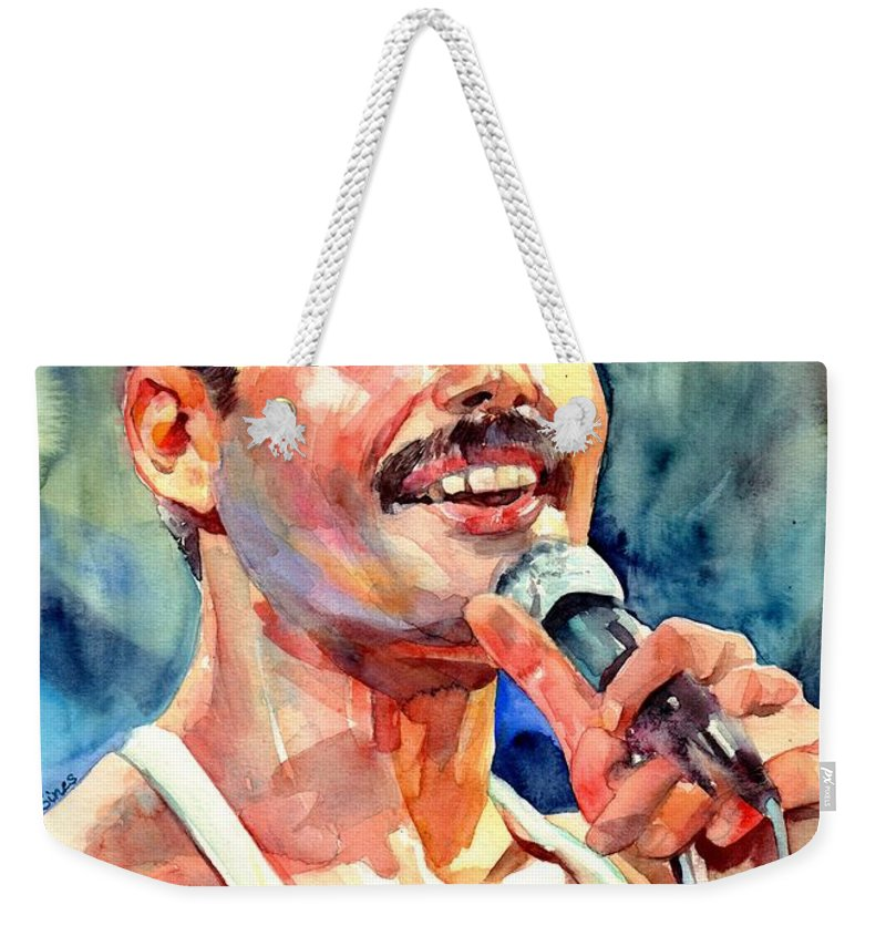Freddie Mercury Weekender Tote Bag featuring the painting Freddie Mercury Live Aid by Suzann Sines