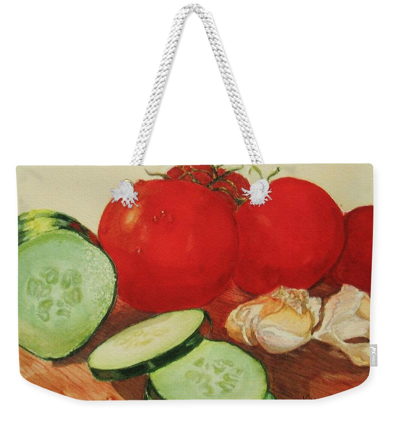 Still Life Weekender Tote Bag featuring the painting Fresh Veggies by Karen Ilari