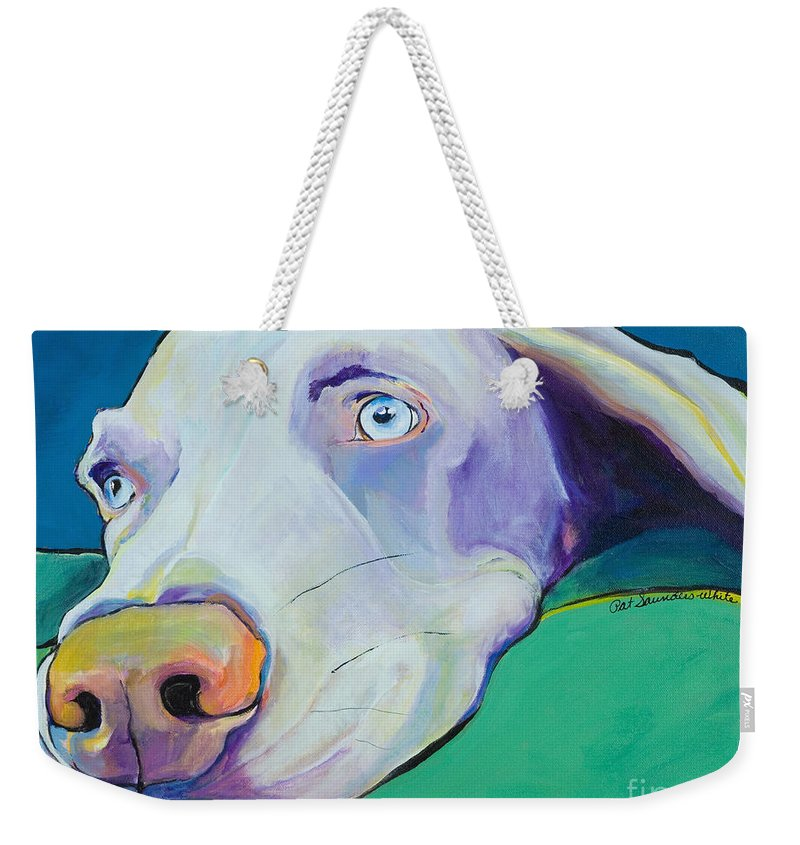Pat Saunders-white Weekender Tote Bag featuring the painting Fritz by Pat Saunders-White