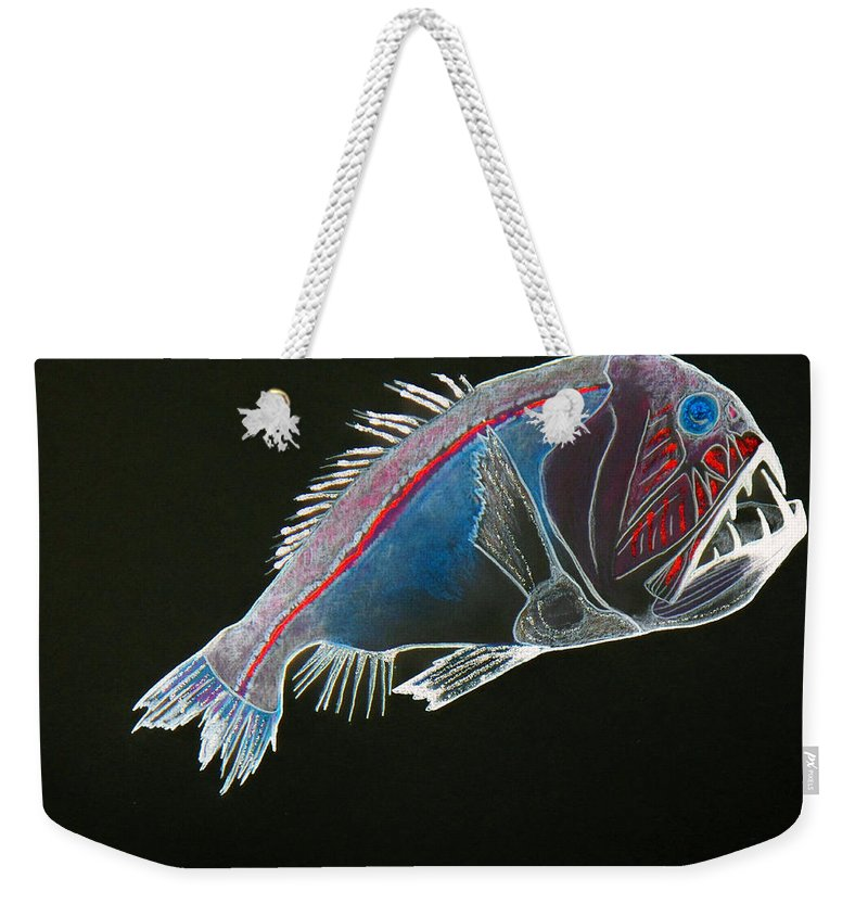 Fossil Weekender Tote Bag featuring the drawing From The Abyss by Sergey Bezhinets