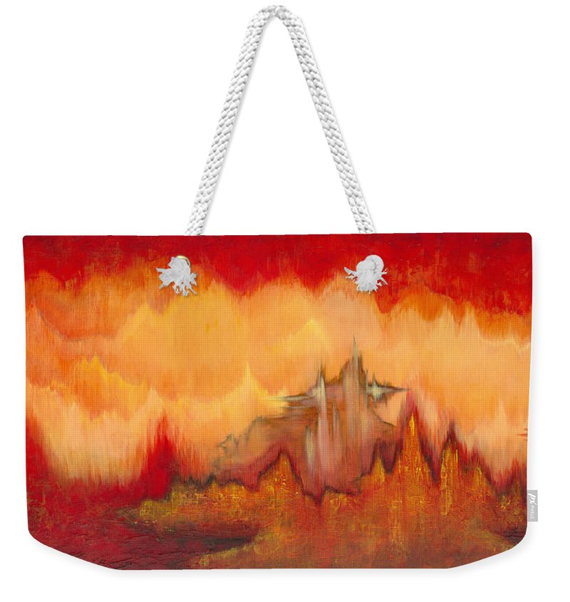 Red Weekender Tote Bag featuring the painting From the Valley by Shadia Derbyshire