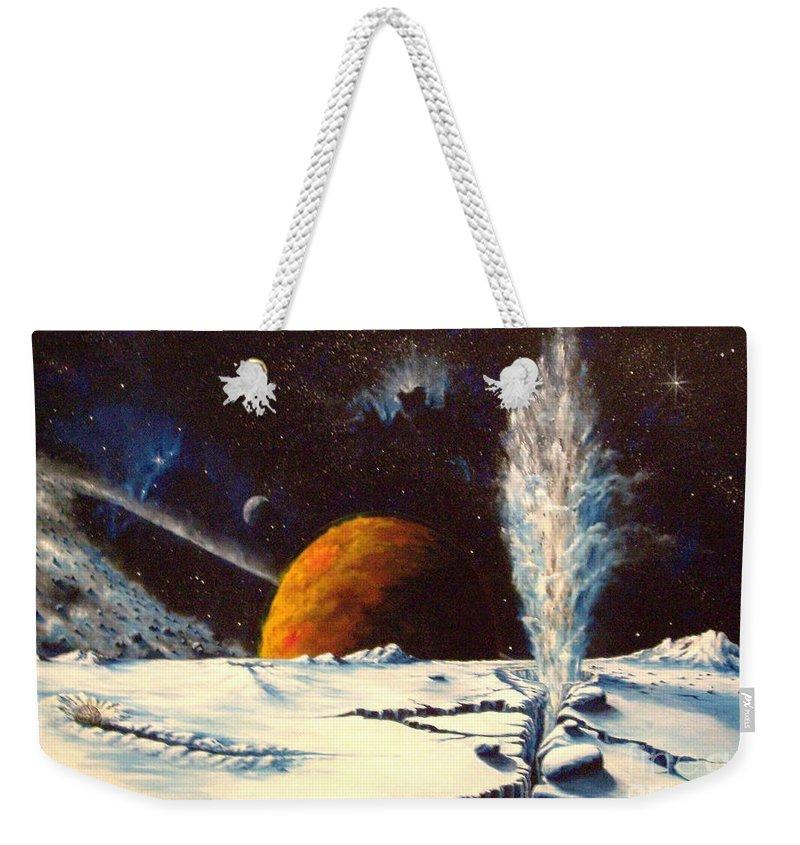 Landscape. Geyser Weekender Tote Bag featuring the painting Frozen Geyser by Murphy Elliott