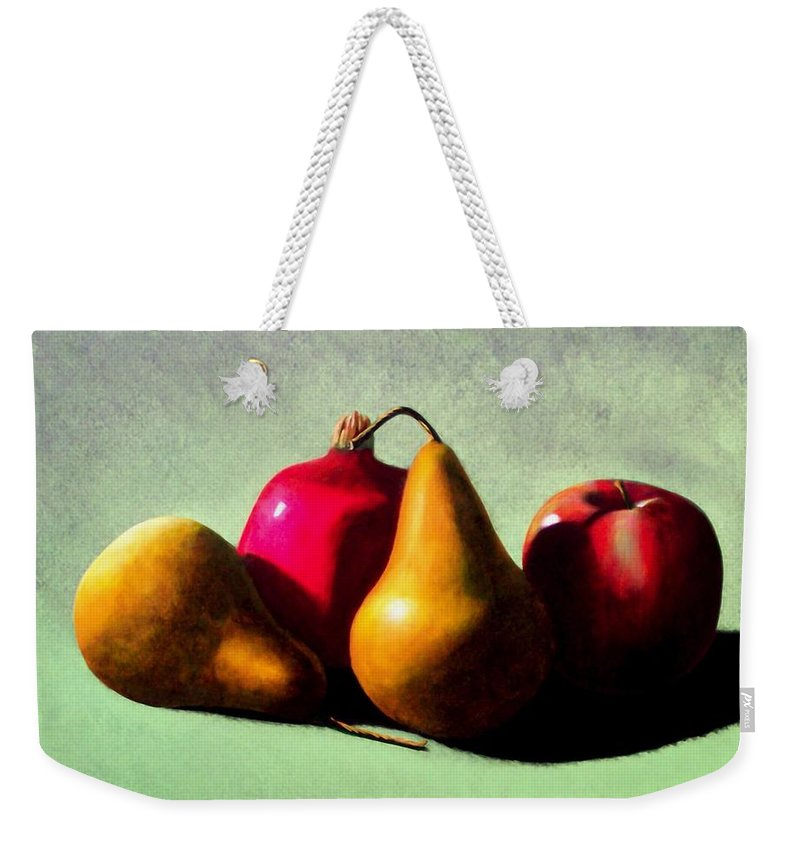 Still Life Weekender Tote Bag featuring the painting Fruit Harvest by Frank Wilson