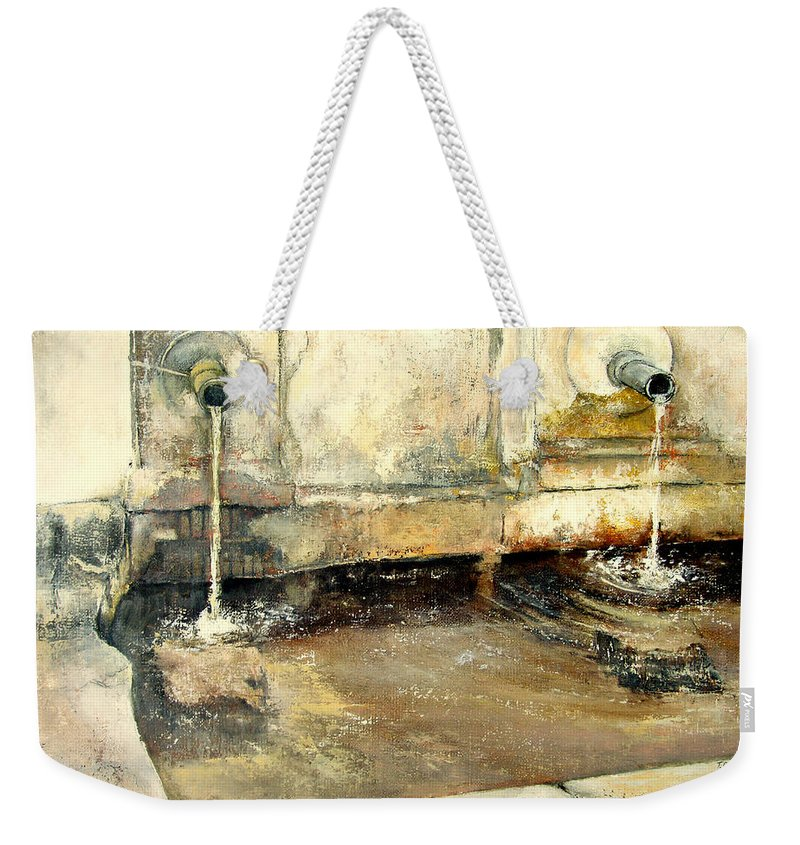 Fuente Weekender Tote Bag featuring the painting Fuente by Tomas Castano