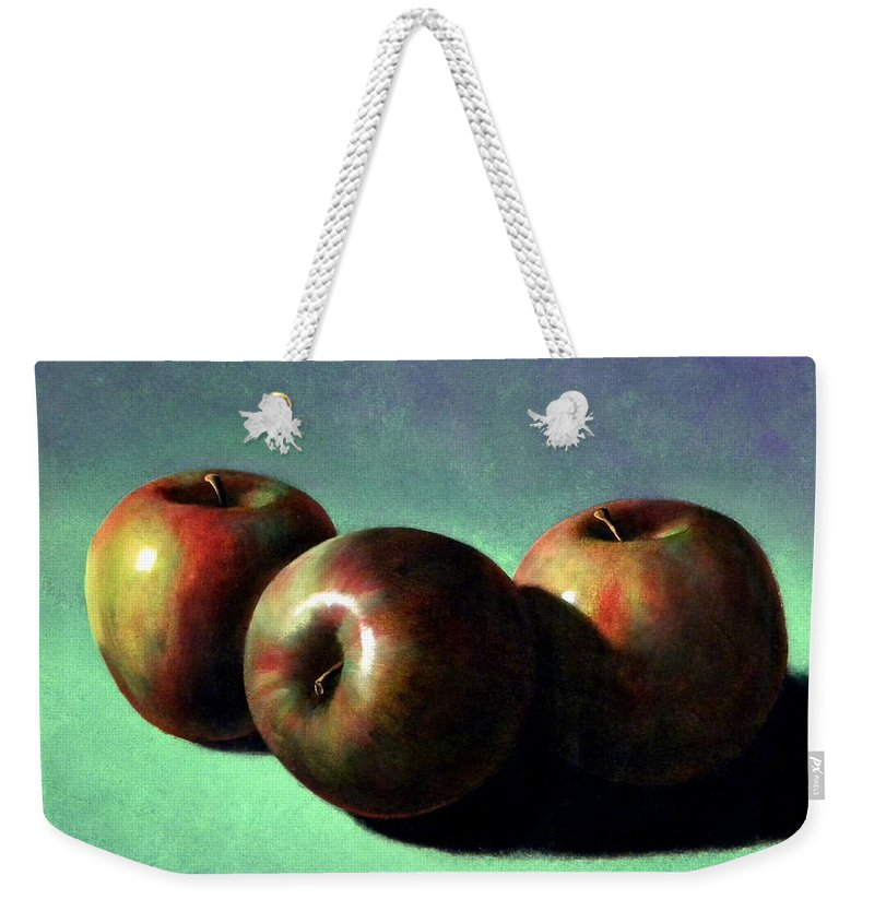 Still Life Weekender Tote Bag featuring the painting Fuji Apples by Frank Wilson
