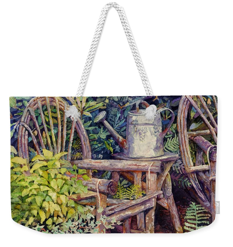 Garden Weekender Tote Bag featuring the painting Garden Retreat-square format by Hailey E Herrera