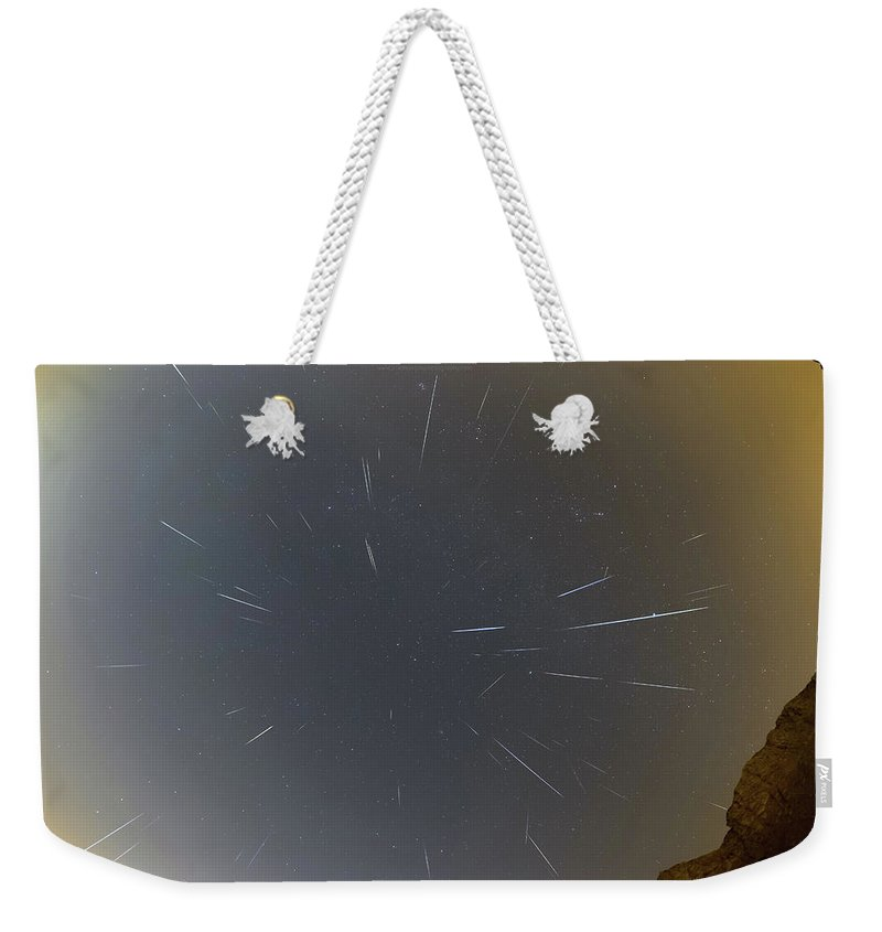Weekender Tote Bag featuring the photograph Geminids Meteor Shower 2020 by Prabhu Astrophotography