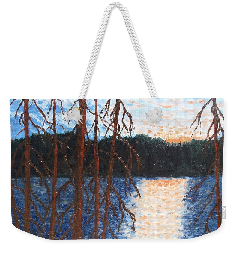 Setting Sun Weekender Tote Bag featuring the painting Georgian Bay Ghosts by Ian MacDonald