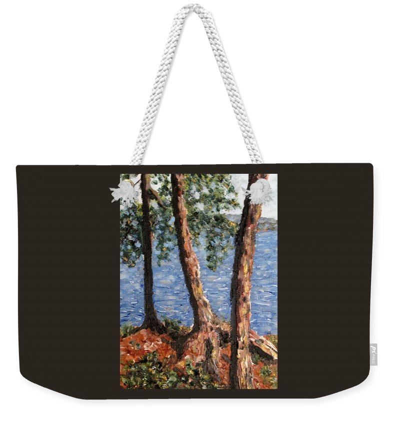 Pines Weekender Tote Bag featuring the painting Georgian Bay Jack Pines by Ian MacDonald