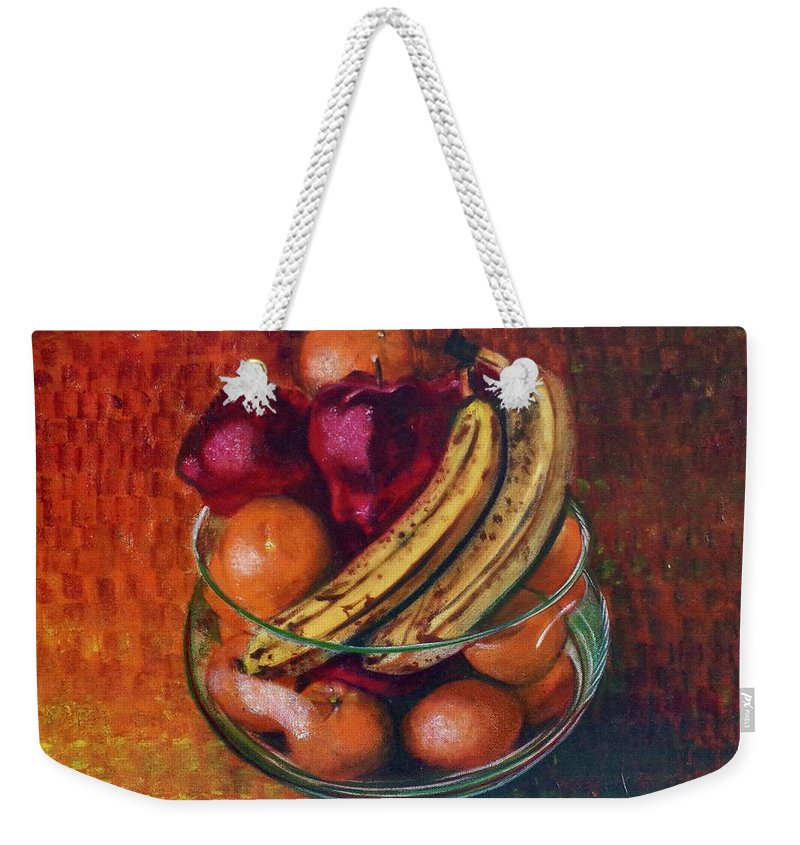 Oil Painting On Canvas Weekender Tote Bag featuring the painting Glass Bowl Of Fruit by Sean Connolly