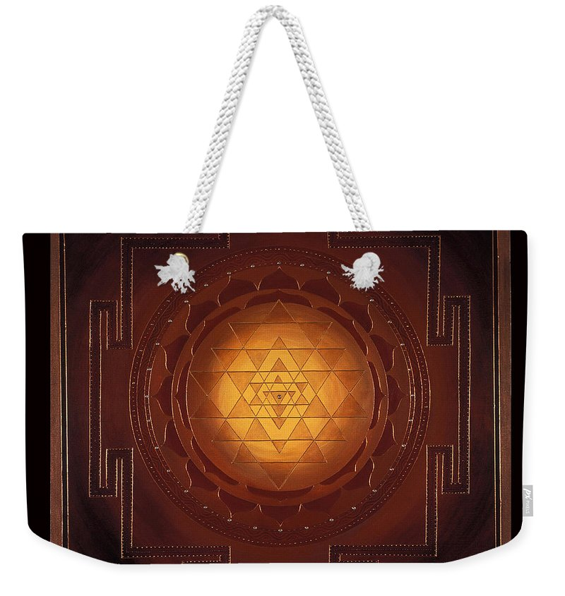 Mandala Weekender Tote Bag featuring the painting Golden Sri Yantra by Charlotte Backman