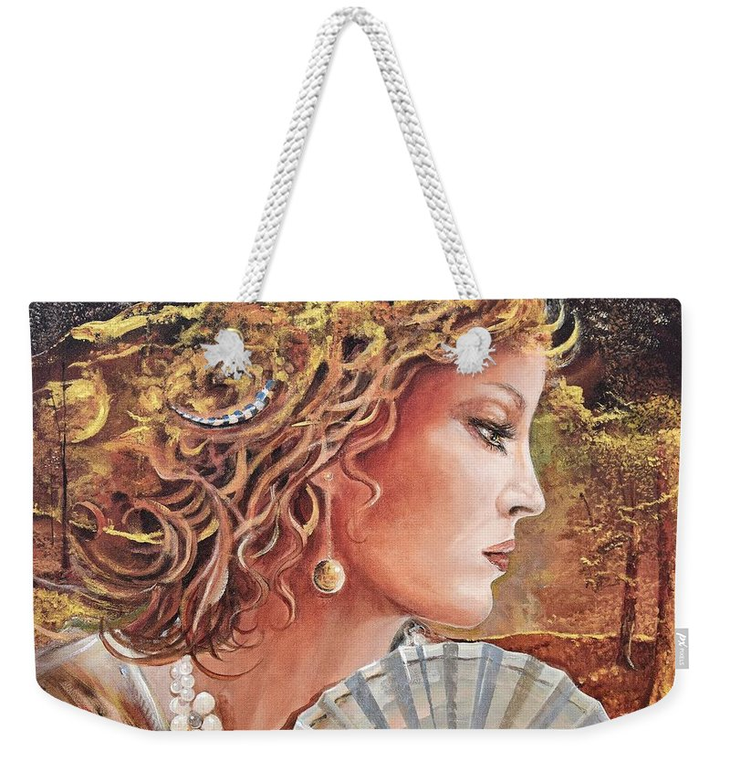 Female Portrait Weekender Tote Bag featuring the painting Golden Wood by Sinisa Saratlic