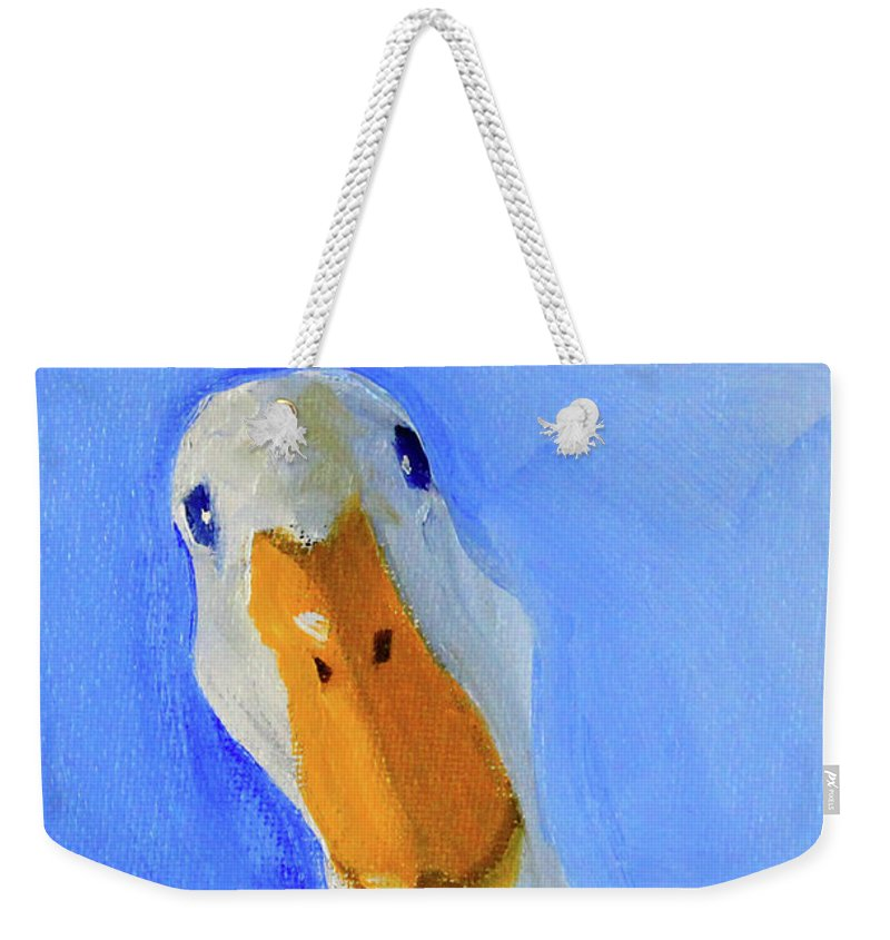 White Goose Weekender Tote Bag featuring the painting Goose In Charge by Nancy Merkle